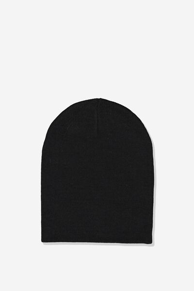 Ribbed Beanie, BLACK