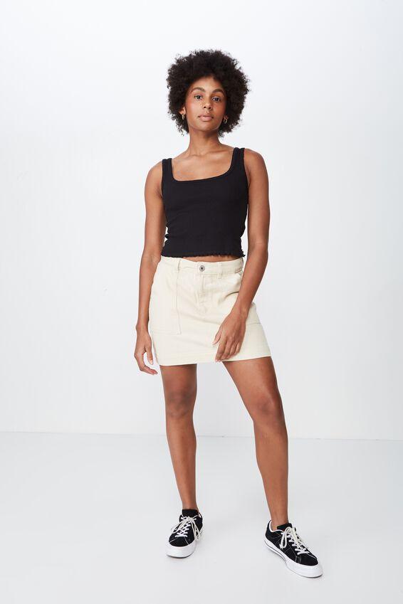 Patch Pocket Denim Skirt, FOG