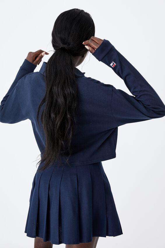 Fila Lcn Long Sleeve Crop Polo Top, NAVY
