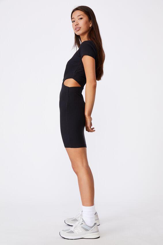 Rib Cut Out Short Sleeve Dress, BLACK