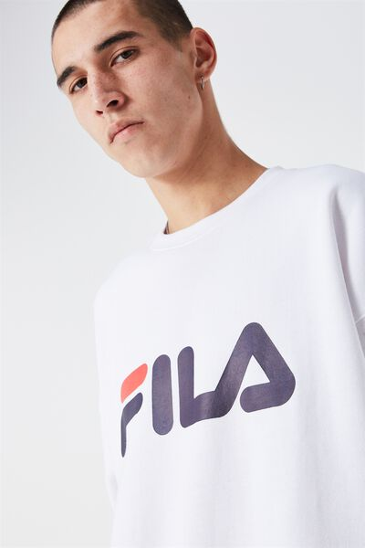 Fila Crew Sweater Large Logo, WHITE