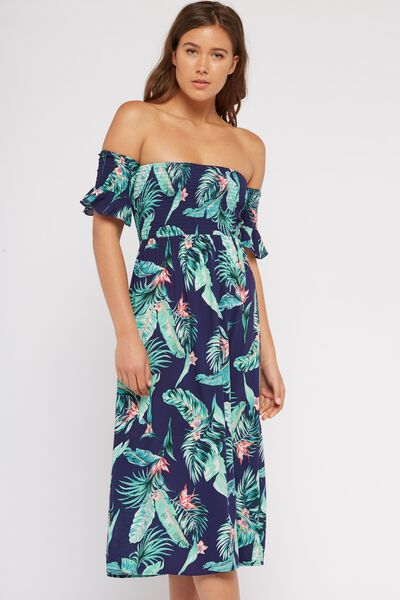 Flutter Slv Ots Shirred Midi Dress, EXOTIC PALM LEAF_P.BLUE