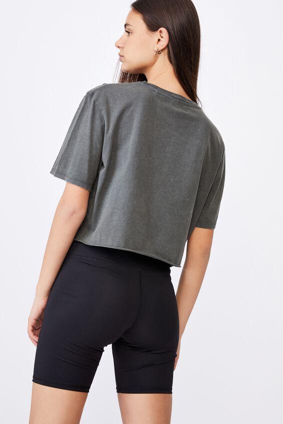 Short Sleeve Raw Edge Crop Graphic T Shirt, WASHED ASPHALT/NO MERCEY