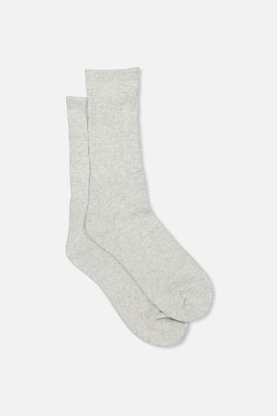 Retro Ribbed Socks, SLD GREY MARLE