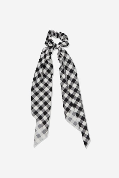Scarf Scrunchie, BLACK GINGHAM