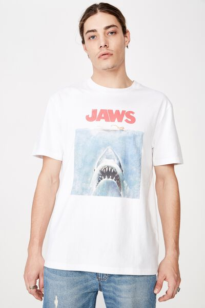 Regular License T Shirt, WHITE/JAWS