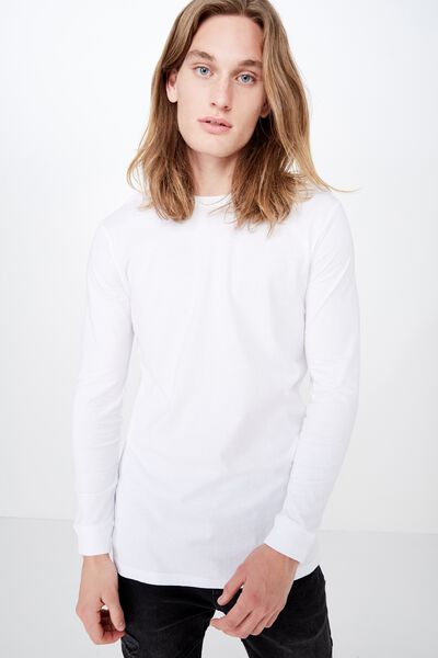 Slim Long Sleeve T Shirt, WHITE