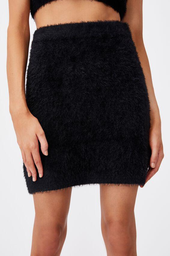 Fluffy Knit Mini Skirt, BLACK
