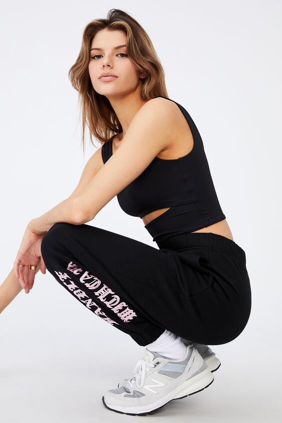 Super High Rise Trackpant, BLACK/HANDLE WITH CARE