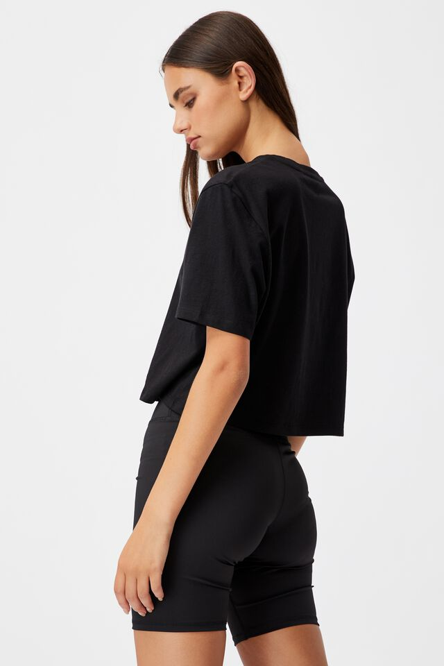 Short Sleeve Crop Graphic T Shirt, BLACK/LOOKING WITHIN