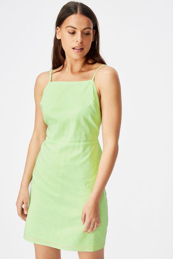 Strappy Mini Dress, LIME