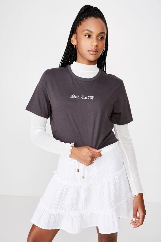 Short Sleeve Raw Edge Crop T Shirt, ASPHALT/NOT TODAY