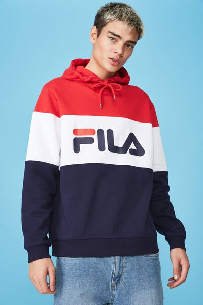 Fila Lcn Heritage Splice Hoodie, NAVY/WHITE/RED