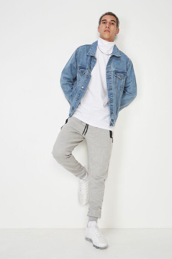 Long Sleeve Turtleneck Top, WHITE