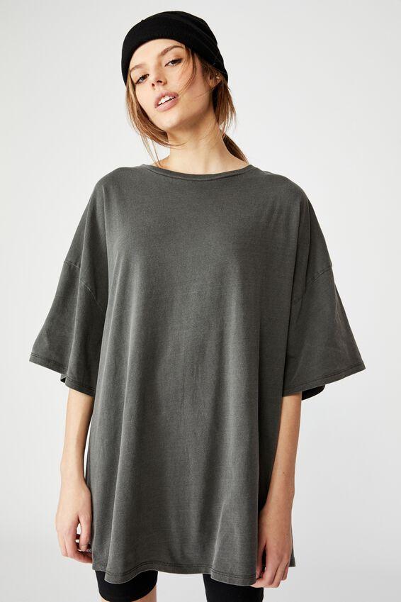 T Shirt Dress, WASHED BLACK