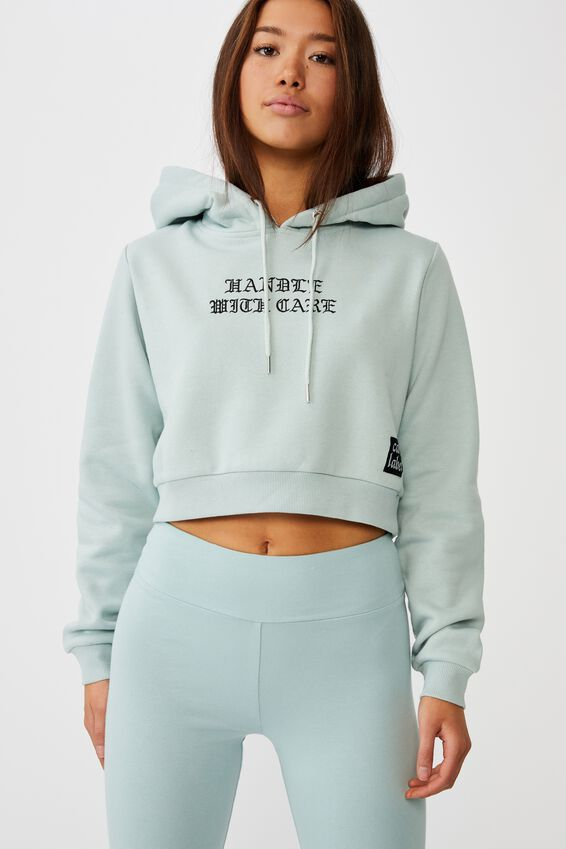 Classic Crop Graphic Hoodie, ETHER/HANDLE WITH CARE