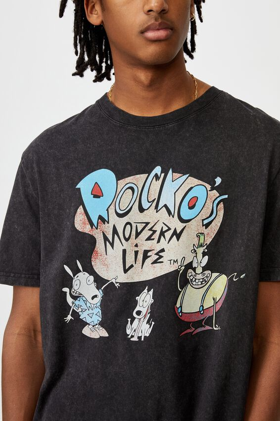 Regular License T Shirt, WASHED BLACK/ROCKOS MODERN LIFE