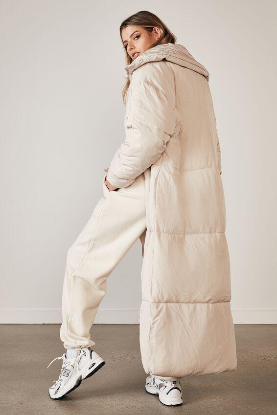Longline Puffa Jacket, NEUTRAL