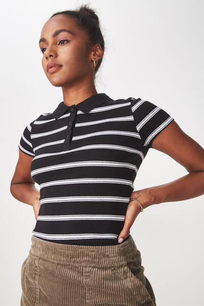 Striped Polo Top, MERCY STRIPE_BLACK WHITE