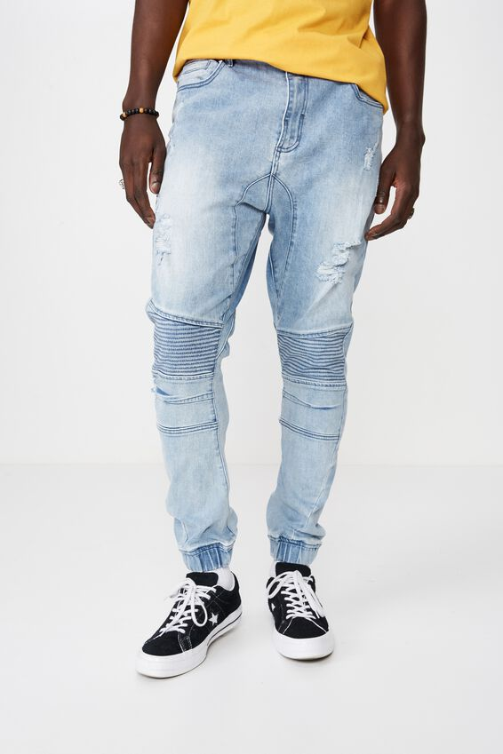 Moto Denim Cuffed Jean, WASHED BLUE RIP