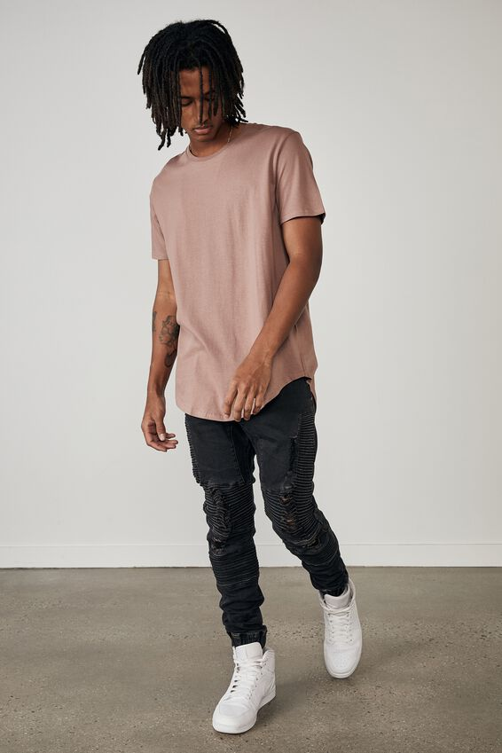 Curved T Shirt, DRIED ROSE