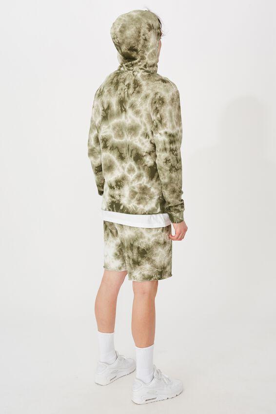 Oversized Tie Dye Hoodie, WHITE/ARMY GREEN TIE DYE