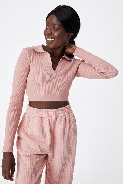 Ultra Crop Long Sleeve Top, SILVER PINK