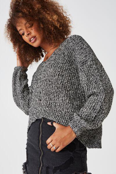 Isabella Oversized Knit, BLACK/WHITE TWIST
