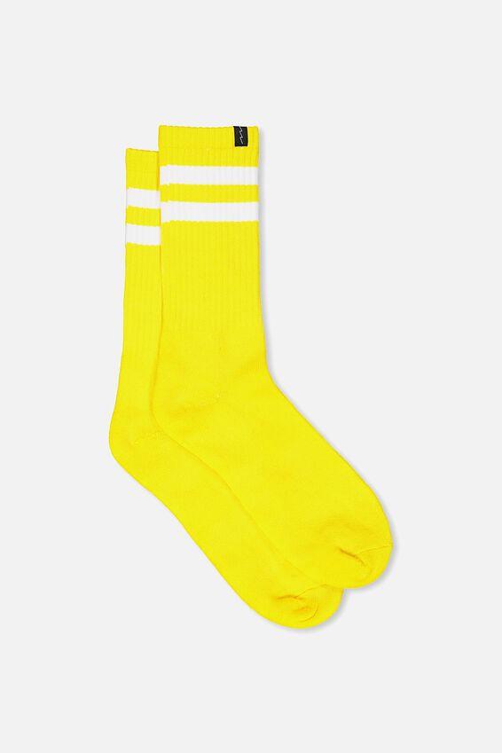 Retro Ribbed Socks, YELLOW_WHITE STRIPE