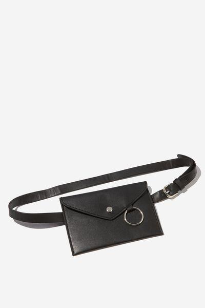 Metal Ring Belt Bag, BLACK