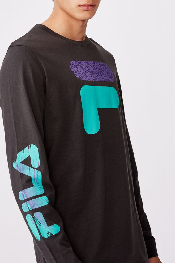 Fila Lcn Long Sleeve Graphic T Shirt, PIRATE BLACK/STATIC TOP