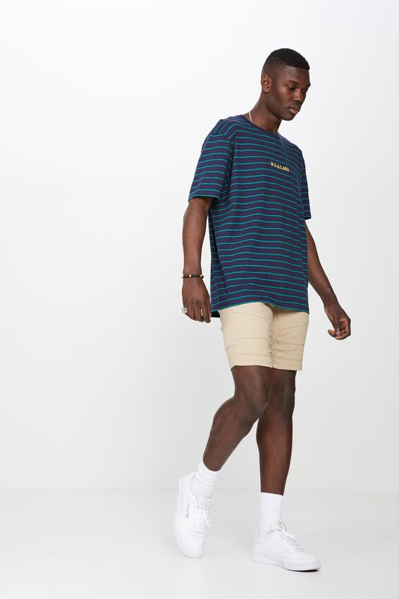Classic Embroided Stripe T Shirt, NAVY/GREEN STRIPE