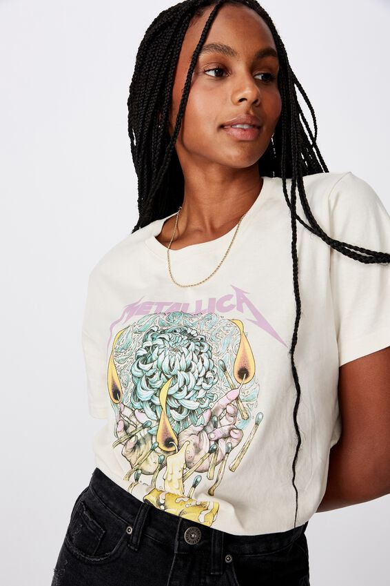Lcn Relaxed Graphic T Shirt, METALLICAFLORAL SKULL_WASHED IVORY