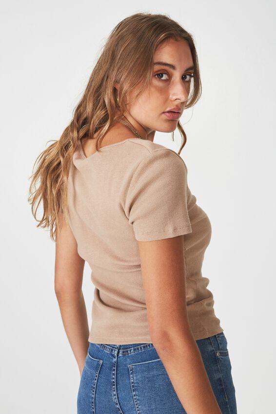Short Sleeve Rib Henley, MOCHA