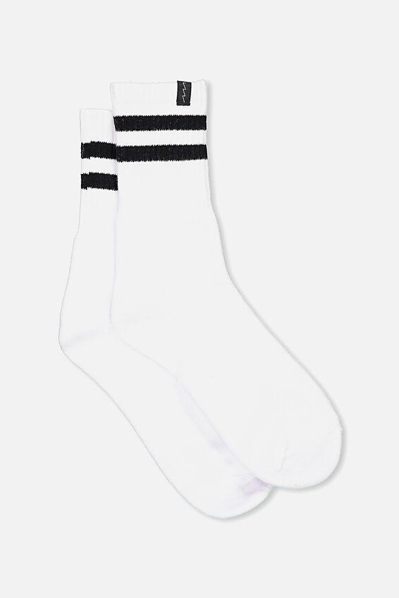 Retro Sport Sock, WHITE RETRO STRIPE