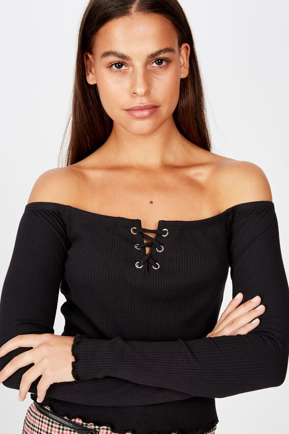 Ls Off Shoulder Top, BLACK
