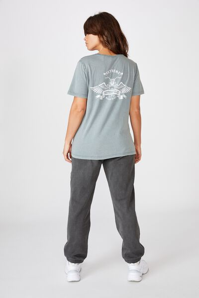 Relaxed Graphic T Shirt, WASHED GREY/BE BRAVE