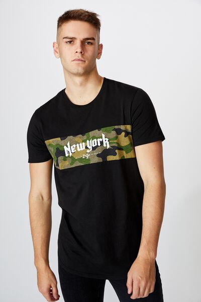 Curved Panel Graphic T Shirt, BLACK/NY CAMO