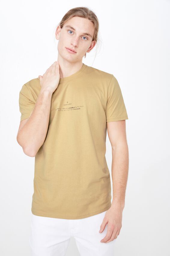 Slim Graphic T Shirt, WASHED MUSTARD/NY SCRATCH