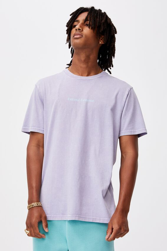 Regular Graphic T Shirt, WASHED PURPLE/EXTERNAL EXISTENCE