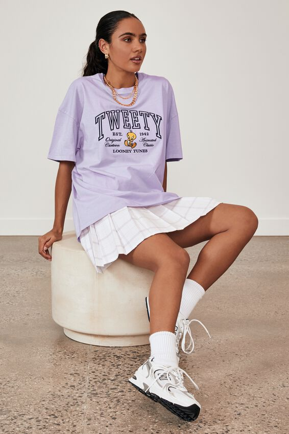 Lcn Super Relaxed Pop Culture T Shirt, WASHED PALE VIOLET/TWEETY