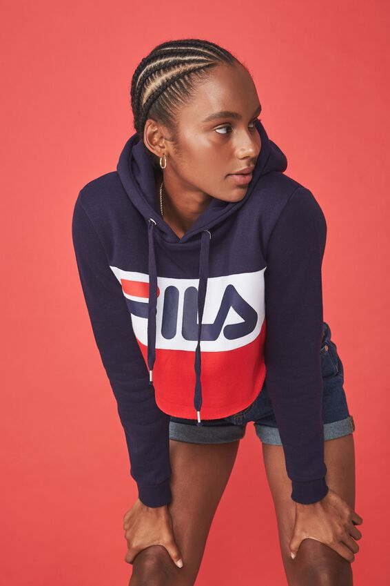 Fila Raw Edge Crop Hoodie, EVENING BLUE