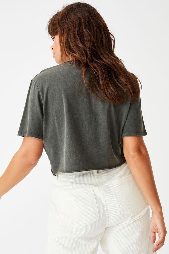 Short Sleeve Raw Edge Crop Graphic T Shirt, WASHED ASPHALT MONTEROSSO SPEEDWAY