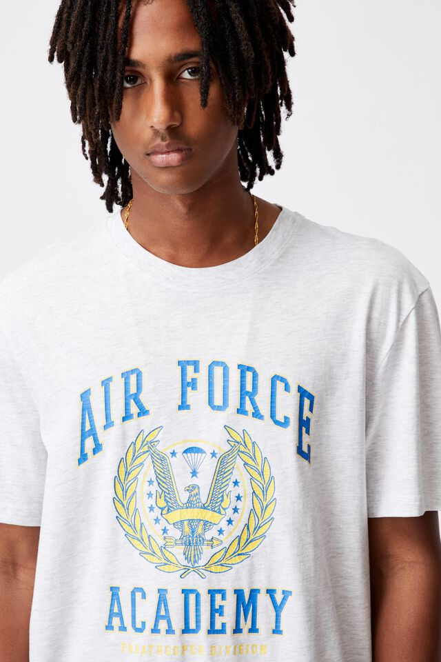 Regular Graphic T Shirt, SILVER MARLE/AIRFORCE
