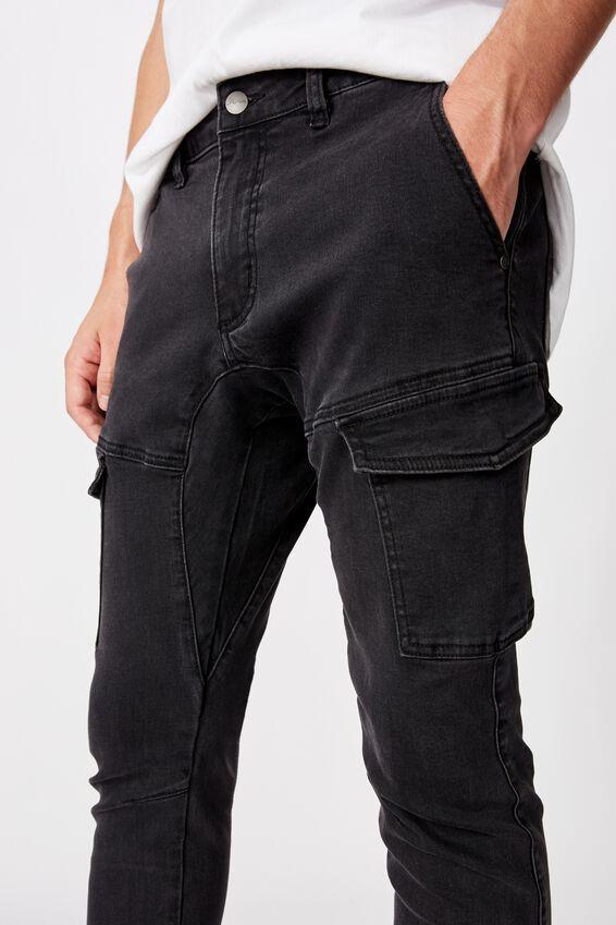 Utility Pocket Jean, WASHED BLACK