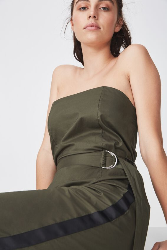 Strapless Jumpsuit, KHAKI W/ BLACK STRIPE