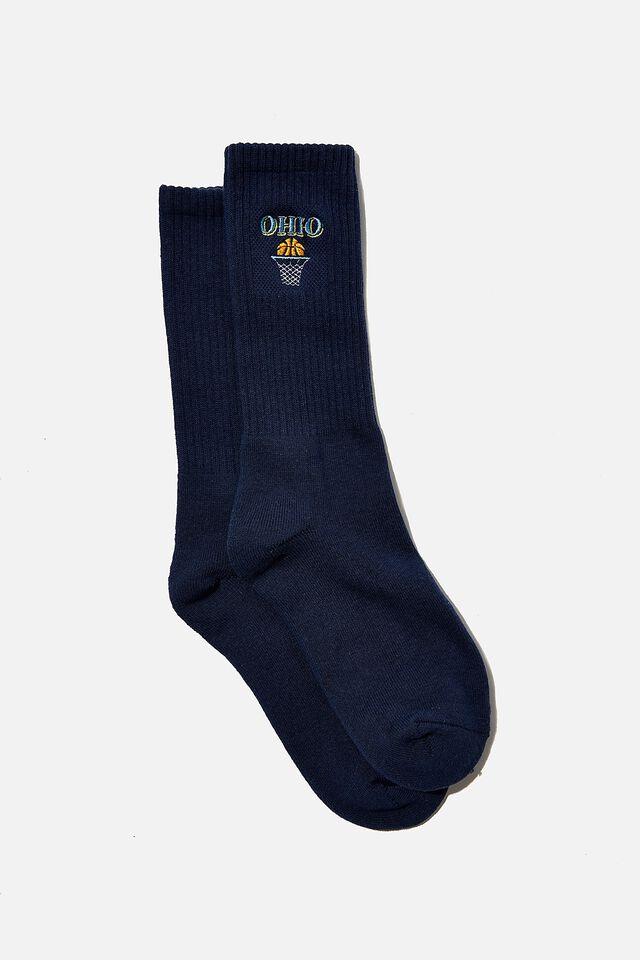 Retro Ribbed Socks, WASHED NAVY/OHIO