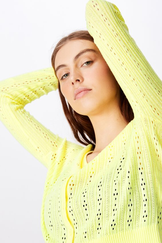 Long Sleeve Pointelle Knit Cardi, LIME CREAM