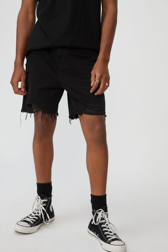 Ripped Rigid Denim Short, WASHED BLACK