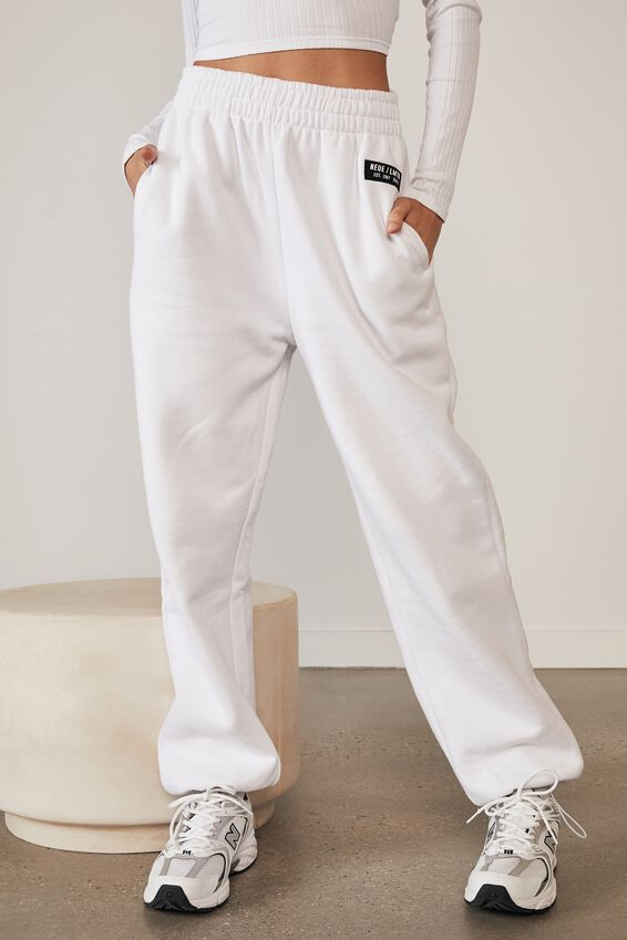 Athluxe Slouchly Toggle Hem Track Pant, WHITE